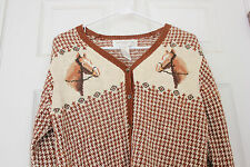 HORSE Sweater Cardigan Brown White  Equestrian Riding Houndstooth Jones NY SMALL