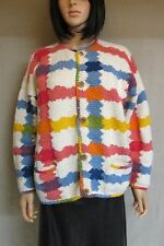 VINTAGE AMANO BOLIVIAN COTTON HANDKNIT RAINBOW STRIPE BUTTON CARDIGAN SWEATER XL