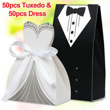 100pcs Tuxedo Dress Groom Bridal Wedding Party Favor Gift Ribbon Candy Box