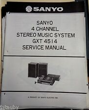 SANYO Vintage Original 4 Chanel Stereo Music System GXT 4514 Service Manual