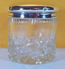 LARGE ANTIQUE HM STERLING SILVER CUT CRYSTAL DRESSING TABLE JAR POT 1946