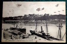 CPA. BAYONNE. 64 - Vue sur l'Adour et la Citadelle. 1921. Avions dessinés Main.