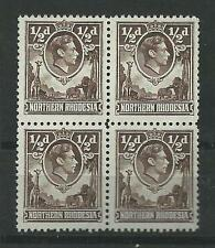 N.RHODESIA, 1938 KGV1 DEFINS, 1/2d SG 26, MNH BLOCK OF 4, CAT £9