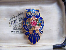 VINTAGE JEWELLERY ADORABLE CLOISONNE ENAMEL OWL BIRD ANIMAL BROOCH SHAWL PIN