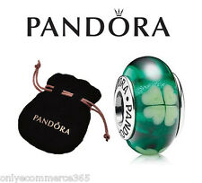 Genuine PANDORA Murano Glass Charm, Lucky Irish Clover Green (S925 ALE) - 790927
