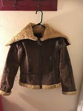 Women's Brown leather jacket by ANA, shearling lining, medium