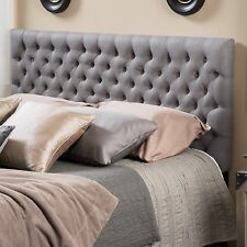 Contemporary Queen/ Full Dark Grey Fabric Headboard w/ Button Tufted Accent