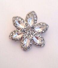 Claro tono plata Strass Cristal Diamante Alfiler Flor Boda De Aleación De Broche