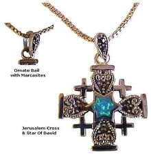 "Jerusalem Cross and Star of David with Opal and Marcasites & 18"" silver chain"