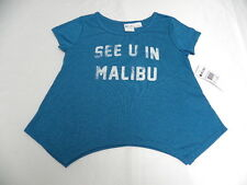 Roxy Girls See You In Malibu T-Shirts Sz 10 Medium Tee New Blue