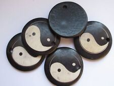 5 x WOOD YIN YANG BEADS 30mm with 3mm Hole