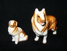 "Sable COLLIE DOG + PUPPY ~ 2"" Tall + 1 1/4"" ~ Tiny Miniature Ceramic Figurines"