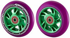 Drilled 100mm Alloy Metal Core Stunt Scooter Wheels + ABEC 9 Bearings & Spacer