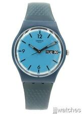 New Swiss Swatch Blue Bottle Genuine Leather Day Date Watch 34mm GN719