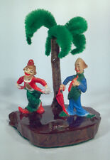 "KE Vintage 5"" Clowns At The Beach Palm Tree Wood Base Pipe Cleaners Shell"