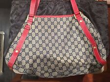 Authentic Gucci Abbey Monogram Hobo Bag With Red Leather Trim And D Ring