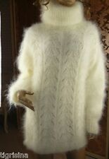 Mohair Hand Knitted Fluffy White Cream T-Neck Sweater Jumper Pullover;  L - XL