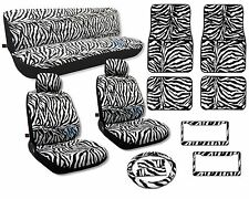 Animal Print Seat Covers Floor Mats White Zebra Front Rear License Frames CS