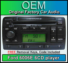 Ford Focus 6 DISC CHANGER RADIO, Ford 6006 6 reproductor de CD estéreo de coche + Código Teclas &