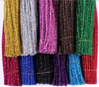 FREE 100PC Chenille Craft Stems Tinsel Pipe Cleaners Assorted Colours 30cm x 6mm