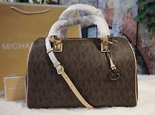 NWT MICHAEL KORS LARGE Grayson MK Monogram Brown PVC Leather Satchel Bag, $348