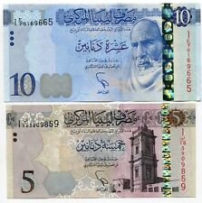 LIBYA SET 2 PCS 5 10 DINARS 2015 P NEW AUNC ABOUT UNC