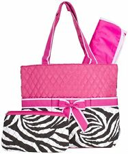 NEW DIAPER BAG BABY TOTE ZEBRA PRINT PINK HANDBAG CHANGING PAD TRAVEL INFANT