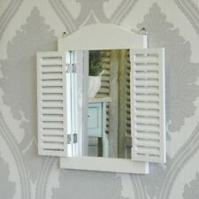 White Wall Mirror with Shutters Hallway Shabby Vintage Chic Home Accessory Gift