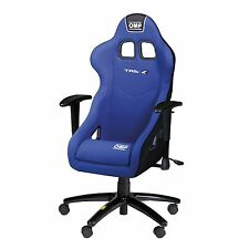 OMP TR-S Racing Blue Velour Height Adjustable Office Chair / Seat