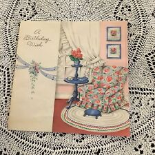 Vintage Greeting Card Birthday Chair Flowers Home