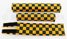FLITE old school BMX bicycle padset foam racing pads CHECKERBOARD BLACK & YELLOW