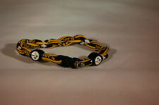"STEELERS FOOTBALL TITANIUM TORNADO ROPE BRACELET BLACK & YELLOW NEW 9"" INCHES"