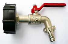 "IBC CAP and BRASS POUR TAP 1/2"" to Garden Hose WATER  Bio-Diesel  Connector"