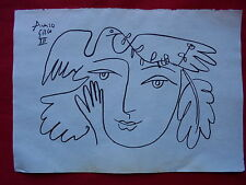 PABLO PICASSO  -  DRAWING / INK ON ORIGINAL PAPER      ..-- -// --- --  --
