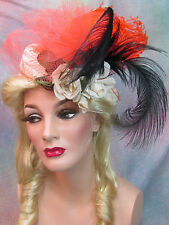 VINTAGE 1940 HAT New York Creations STRAW Beret FASCINATOR ostrich PLUMES roses