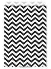 "100 Flat Merchandise Paper Bags: 6x9"", Black Chevron Stripes on White"