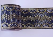 1m navy gold 10cm ethnic jacquard embroidered ribbon applique trimming decor