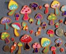 SALE! 25 Pc Retro Mushrooms No Sew Iron On Appliques Cotton Toadstool Patches