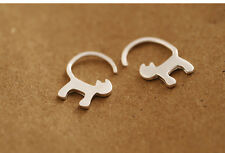 Solid 925 Sterling Silver Small Brushed Cat Kitten Kitty Tail Hook Earrings Gift