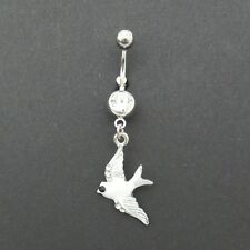 Sparrow cubic zirconia tattoo wings 14g belly navel ring bar piercing 316L NEW
