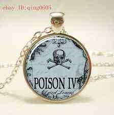 Vintage poison Words Cabochon Tibetan silver Glass Chain Pendant Necklace #J16