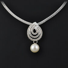 Crystal Drop Snail Spiral Pendant Necklace & Noble White Pearl Earrings Sets New