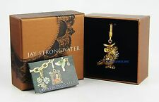 JAY STRONGWATER CHARMING ALBERT NATURAL OWL CHARM SWAROVSKI CRYSTALS BOX USA