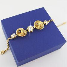 14k Gold plated crystals solid bangle bracelet