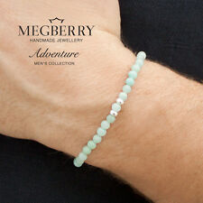 MEGBERRY Mens 925 Sterling Silver & Chinese Amazonite Beaded Bracelet UK seller