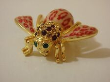 JOAN RIVERS LEOPARD RED ENAMEL AND CRYSTAL BEE PIN NEW