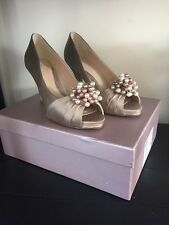 Coast Satin Shoes With Pearl Bead Detailing Size 4 Nude Colour