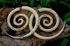 Spiral Organic Fake Gauges Wood Earrings brown XXL hand made body jewelry plugs