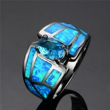 Aquamarine Men Rings Band Blue Fire Opal 10Kt Black Gold Filled Jewellery Sz 6-9