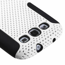 For Samsung Galaxy SIII S3 - HARD&SOFT RUBBER HYBRID SKIN CASE WHITE BLACK MESH
